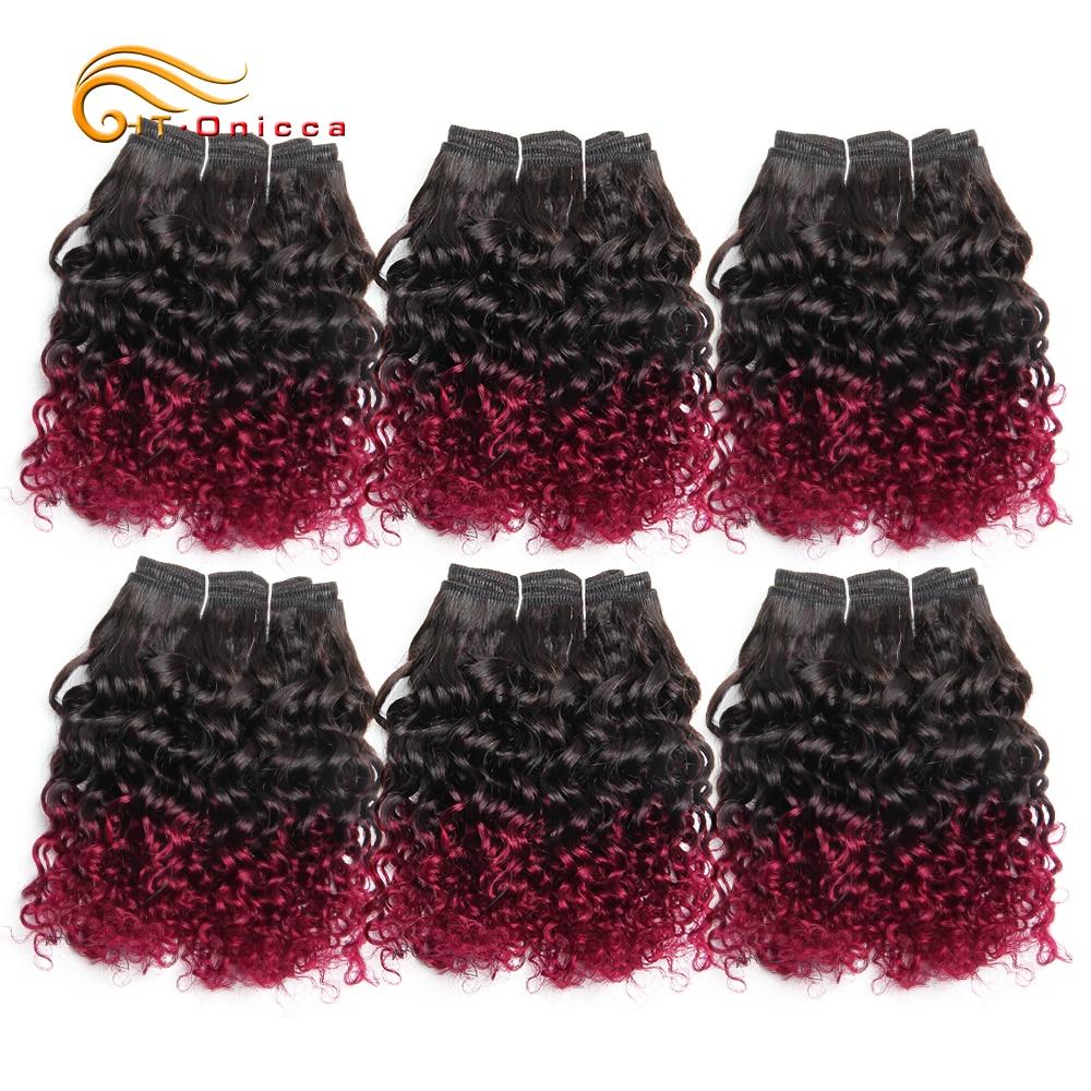 6 Pcs/Lot Brazilian Curly Hair Bundles Jerry Curl Hair Extension 1B/27/30/99J/Burgundy Ombre Hair Bundles 100% Human Hair Weaves 2