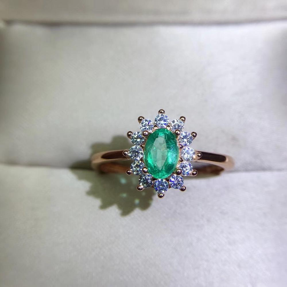 925 Sterling Silver With Natural Emerald Ring Precious Jewelry Fine Jewelry 4*6mm