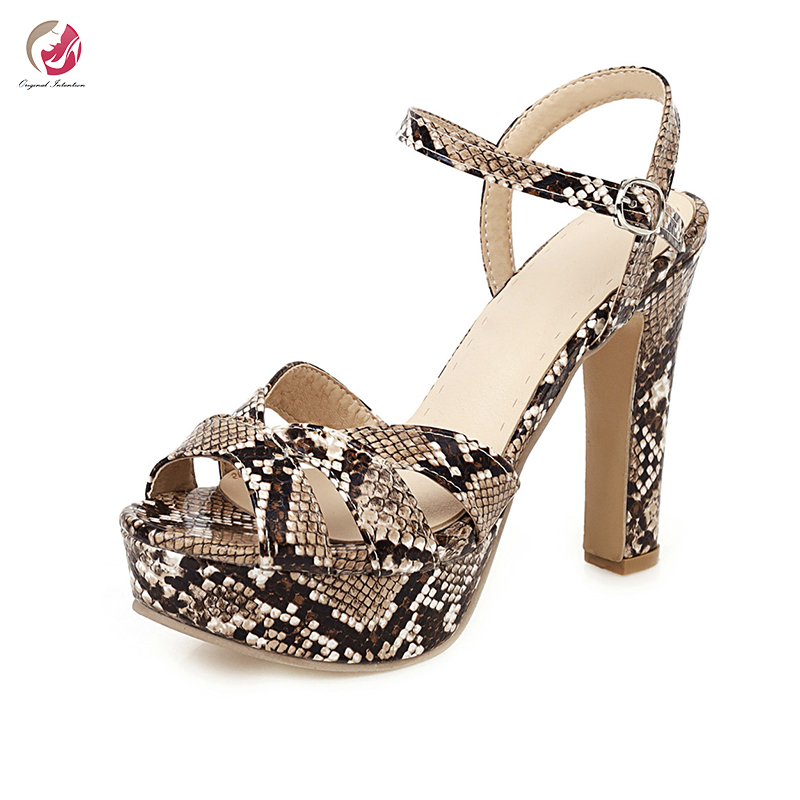 Original Intention Stylish Snakeskin Sandals Woman High Platform Sexy Summer Shoes Chunky High Heels Open Toe Party Club Shoes