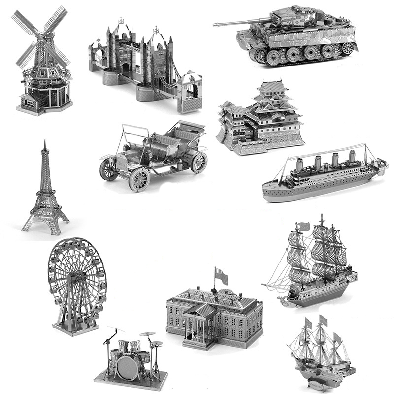 Construction 3D Puzzle Eiffel London Bridge Tower Of Pisa Dubai Himeji Castle Model Adult Kid Toys