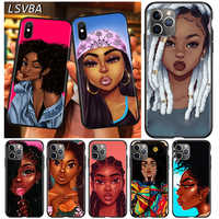 Cubierta negra Afro chicas arte para Apple iPhone 12 Mini 11 XS Pro Max X XR 8 7 6S 6 Plus SE 2020 5 5S teléfono caso