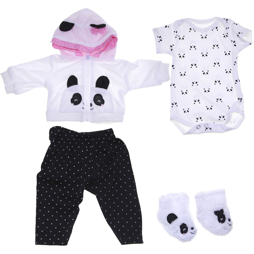 KEIUMI Reborn Baby Doll Clothes Panda Cartoon Clothes Set Male And Female Reborn Baby Doll Clothes For 17-18 Inch Or 60 Cm Doll