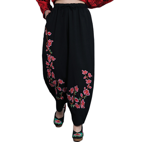 Postage autumn folk style large cotton and linen embroidered knickerbockers retro casual   wide     leg     pants   women's   pants