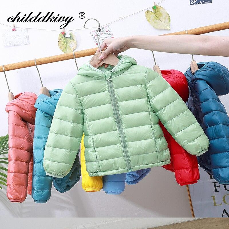 2021 Children winter jacket Ultra light down Baby Girls Jackets Kids Hooded Outerwear Coat boys snowsuit Children Clothing 2-8 y 3