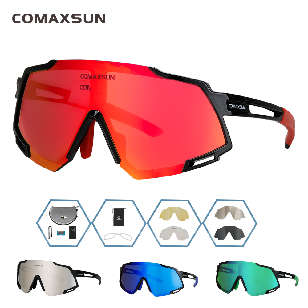 COMAXSUN Professional Polarized 5 Len Cycling Glasses MTB Road Bike Sport Mirror Sunglasses Bike Eyewear UV400 Bicycle Goggles title=