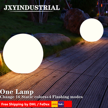 JXYINDUSTRIAL 16 RGB colours changing via remote control led ball plastic glowing light /waterproof floating ball free shipping magic rgb led ball outdoor diameter 20 cm rechargeable glowing sphere waterproof pool color changing light ball