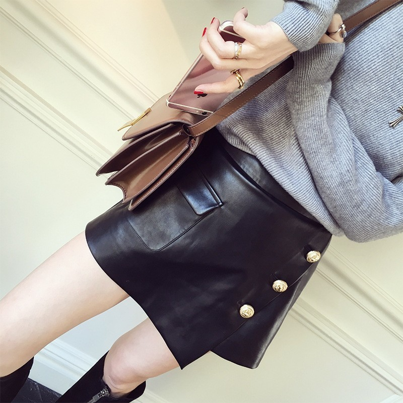 Top Brand Elegant Lady High Waist Skinny Shorts Skirts Button Black Sheepskin Genuine Leather Slim Fit Short Trousers For Women