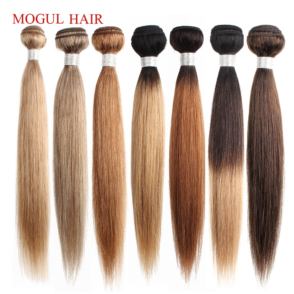 Mogul Hair Color 8 Ash Blonde Color 27 Honey Blonde Indian Straight Hair Weave Bundles Ombre Non Remy Human Hair Extension