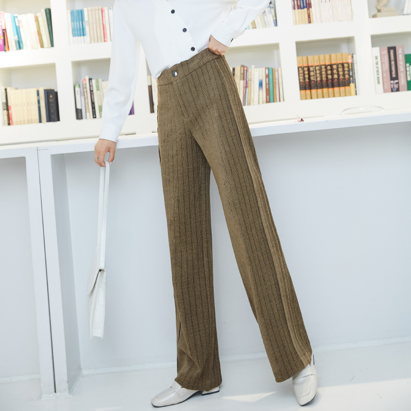 High Waist Knit Wide Leg Pants Women's Trousers 2019 Autumn And Winter Harajuku Jogger Pants Loose Casual Straight Trouserswinte