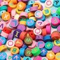 50/100 шт 10 мм Разноцветные Бусы из полимерной глины серебряные украшения в виде букв из Круглый Свободные Spacer Бусины для самостоятельного изг...