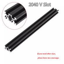 1PC czarny 2040 europejski Standard anodyzowany profil aluminiowy wytłaczanie 100MM-800MM długość liniowa szyna do drukarki 3D CNC v-slot