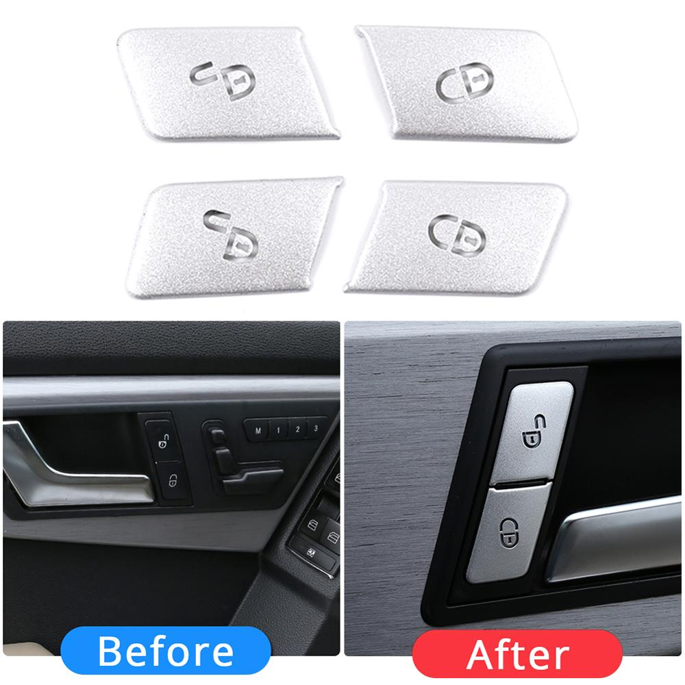 High-end Design Car Styling Door Unlock Buttons Sequins Decoration Covers Stickers Trim For Mercedes Benz C E Class W204 W212