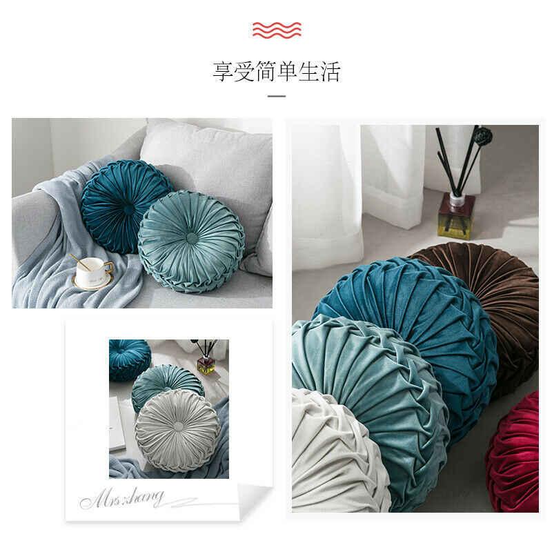 ファッションベルベットプリーツラウンド床クッション枕プーフソフト快適なスローホームソファインテリア