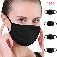38# 1/2/4Pcs Face Shiled Mouth Mask Solid Black Color Reusable Breathable Masks Unisex Washable Reusable Dust Mask Mouth Covers