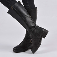 2019 Women knee high boot Plus Big Size 40 41 Retro Flat Knight Leather female long boot Black Brown comfort shoes woman