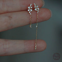 Boucles d'oreilles en forme de feuille de raisin pour femmes, en argent Sterling 925, Pavé de cristal, longues pampilles, en or véritable 14k, accessoires bijoux, cadeau