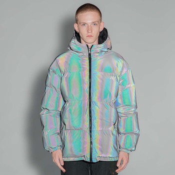 PYJTRL Reflective Padded Jacket For Men's Fashion Harajuku Trend Thickened Coat