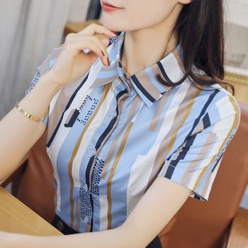 Korean Fashion Chiffon Women Blouses Office Lady Shirt and Blouse Summer Vintage Short Sleeve Shirts Plus Size Womens Tops new summer women blouse loose o neck chiffon shirt female short sleeve blouse plus size 6xl shirts womens tops and blouses top