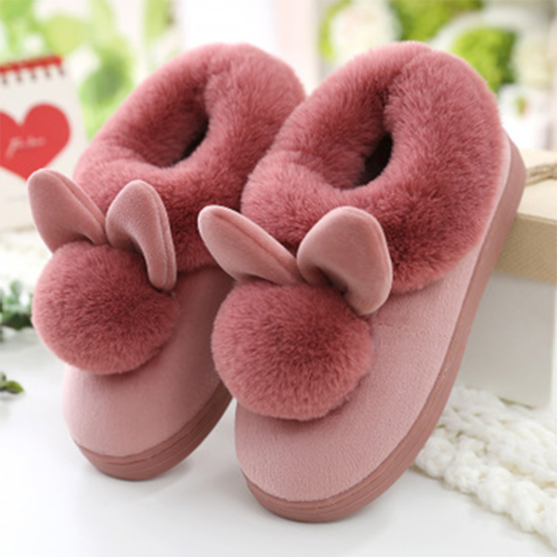 Women Winter Slippers Cat House Woman Soft Flats Warm Ladies Home Floor Cute Cotton Thick Bottom Cartoon House Rabbit Shoes