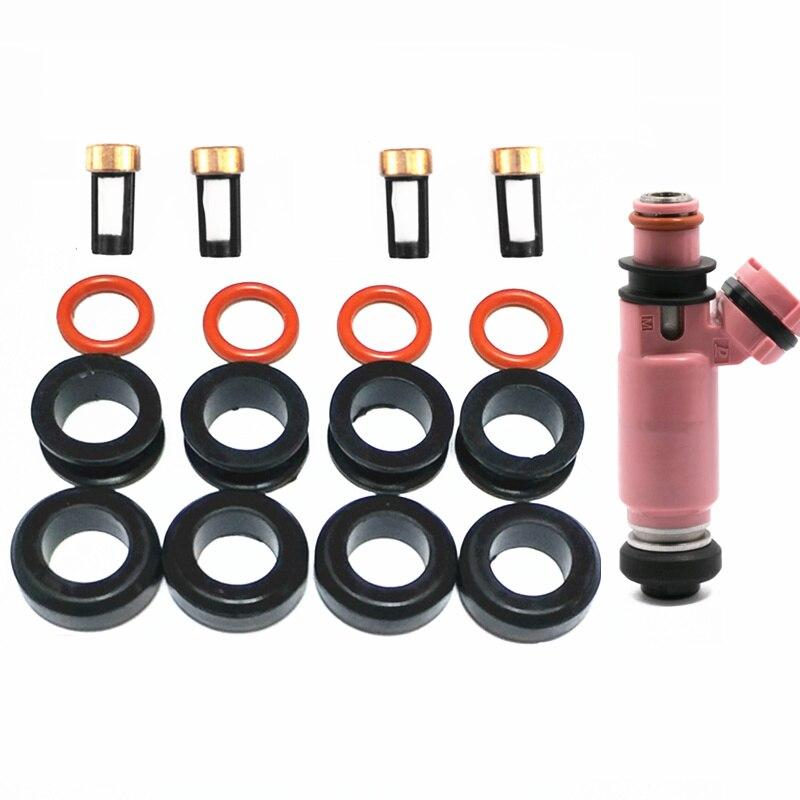 4 zestawy uszczelka wtryskiwacza paliwa zestaw ringów uszczelki filtry do Subaru WRX STI Forester 195500-3910 16611-AA510 (AY-RK118)