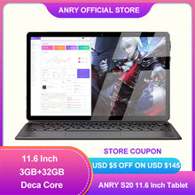 ANRY S20 11.6 pollici Deca Core 3GB RAM 32GB ROM IPS 1920x1080 4G rete Touchscreen WiFi Android 8.1 GPS Google Play Tablet Pc