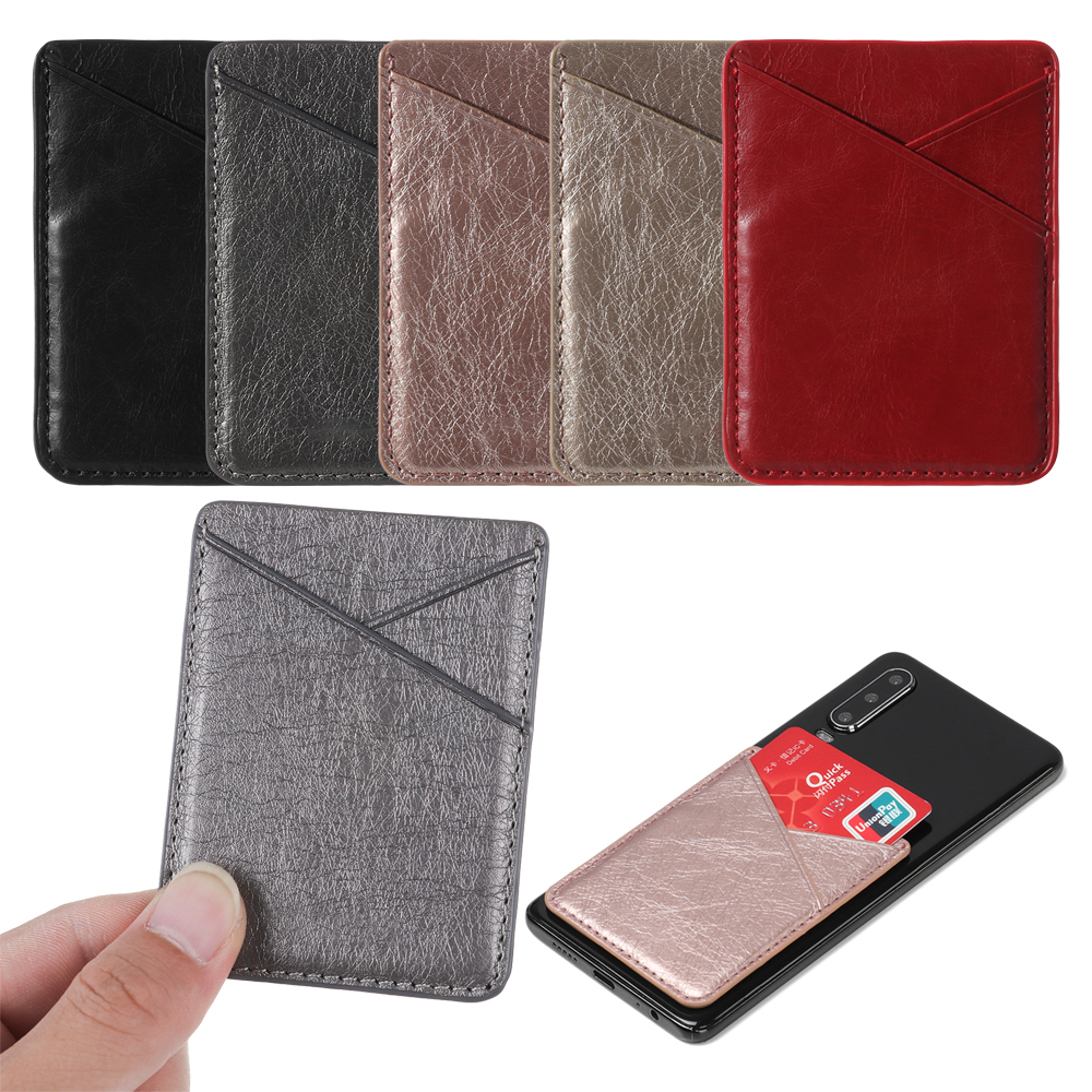 Универсальный держатель для карт телефона из искусственной кожи, мини-кошелек, самоклеющийся чехол для визиток, чехол с карманом