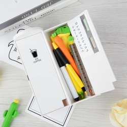 1 caja de lápices multifuncional caja de lápices de gran capacidad con calculadora espejo para niños niñas papelería escolar carcasa para bolígrafo de regalo