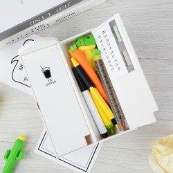 1pc 다기능 연필 상자 소년을위한 거울 계산기와 대용량 연필 케이스 소녀 학교 편지지 선물 펜 케이스