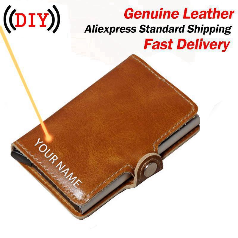 DIY Engraving  Wallet 100% Genuine Leather Aluminum Wallet Pocket ID Card Holder RFID Blocking Mini Automatic Credit Card Purse