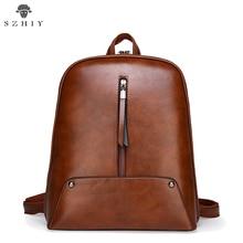 Vintage PU Leather Backpack Female Casual School Bag For Girl Simple Zipper Design Shoulder Bag Women Backpack Oil Wax Leather