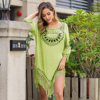 2020 Sexy Lace Hollow Crochet Beach Cover Up Women Bikini Cover Up Beach Dress Tunics Swimsuit Bathing Suits Cover-Up Beach wear 16