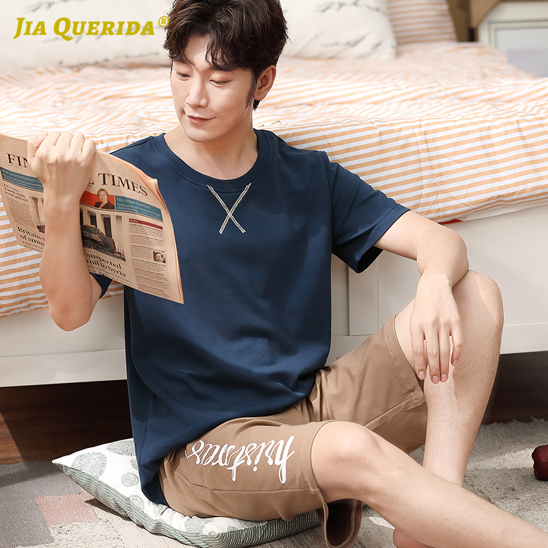 Sleepwear homessuit homeclothes homens azul tripulação pescoço sleepwear moda estilo masculino pijamas definir manga curta calças curtas verão