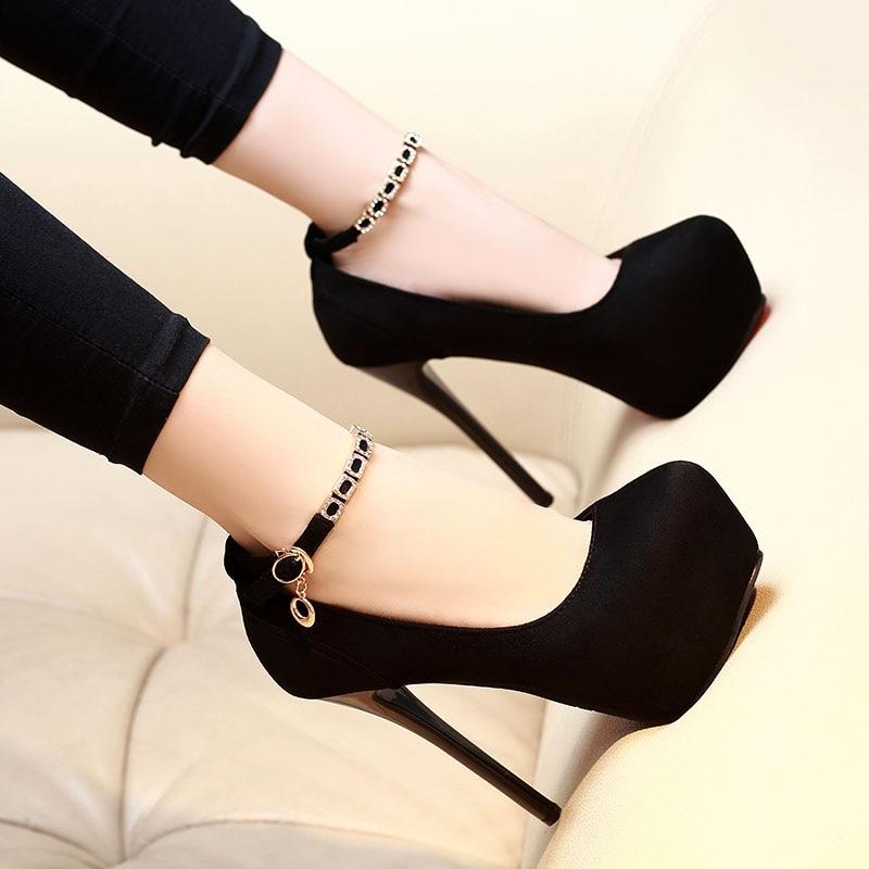Sexy strass plataforma sapatos de salto alto bombas sapatos femininos sapatos de casamento das senhoras sapatos de noiva preto 12/14cm saltos