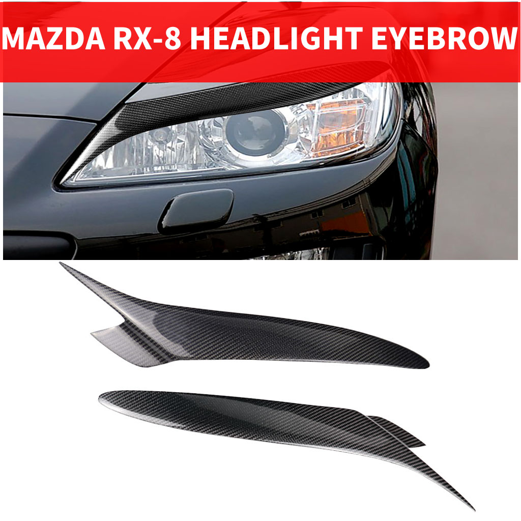 2PCS Car Styling Real Carbon Fiber Headlight Eyebrow Eyelids For Mazda RX8 RX-8 Trim Cover Sticker 2004-2008 Accessory Parts