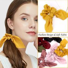 Hair Accessories 6 PCS Scrunchies  Fashion Soft Silk Satin for Cute Bunny Ear