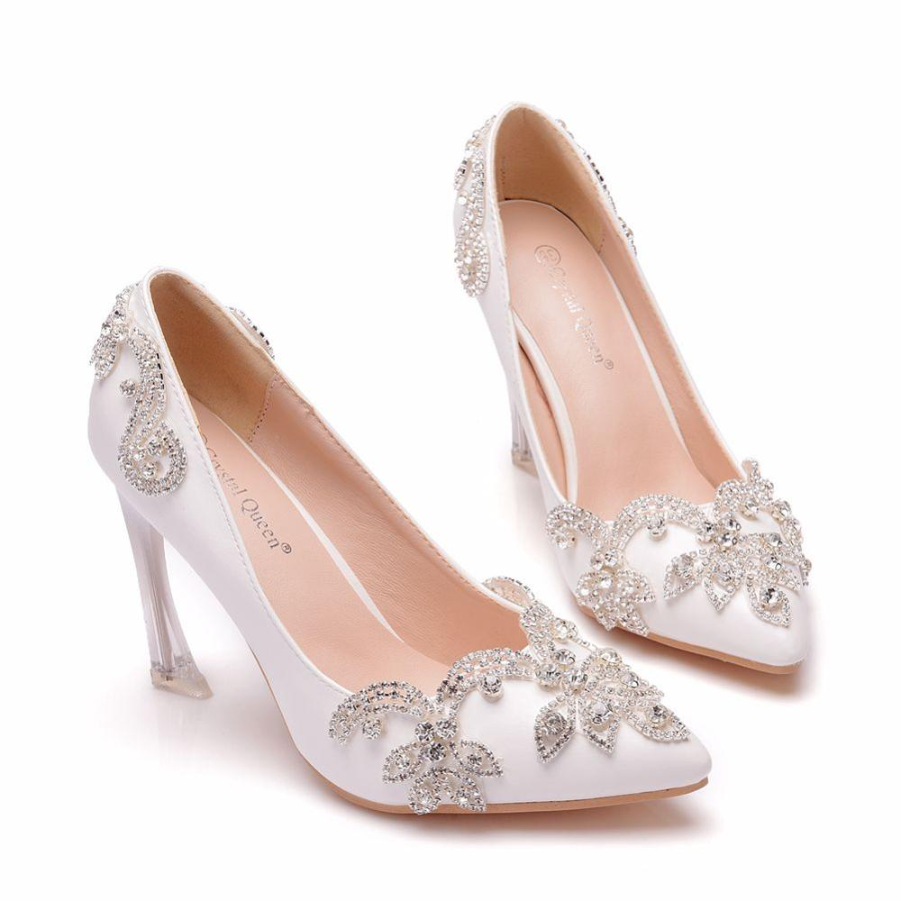 Crystal Queen Women Shoes High Heels Wedding Thin Heels White Diamond Glittering Evening Bride Shoes Crystal Pumps