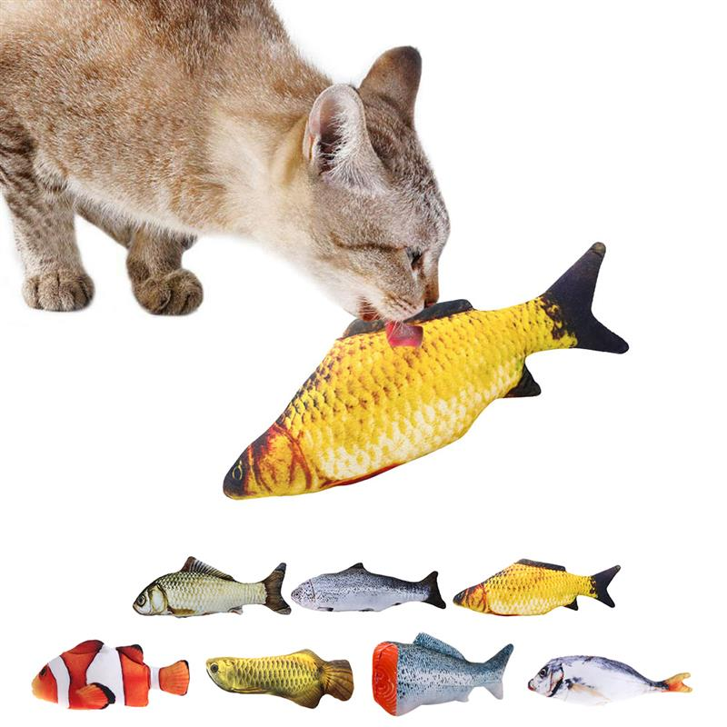 Pet Soft Plush 3D Fish Shape Cat Toy Interactive Gifts Fish Catnip Toys Stuffed Pillow Doll Simulation Fish Playing Toy For Pet(China)