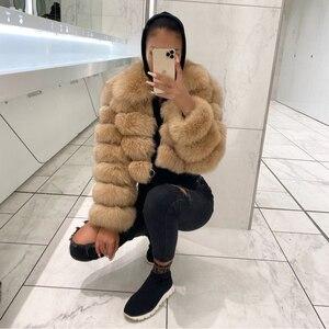 Image 4 - Damski Top Quality prawdziwy lis kurtki futrzane zimowy gruby krótki płaszcz puszysty płaszcz z pełnym rękawem miękki ciepły S7636