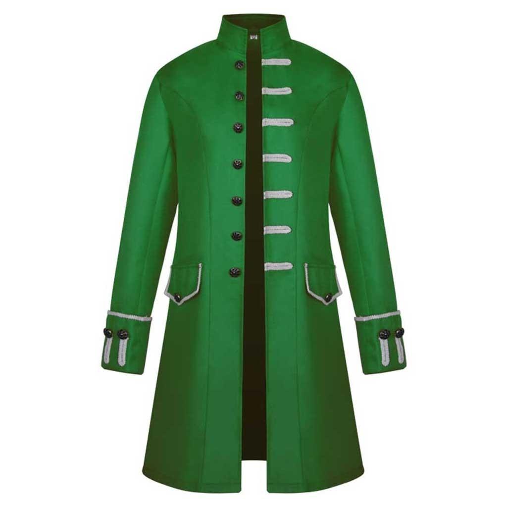 H522ba8edc86c488a9d3297cb24d0b172i Men Trench Coat Steampunk Jacket Medieval Costume Men Long Sleeve Gothic Brocade Jacket Frock Vintage Stand Collar Men's Coat