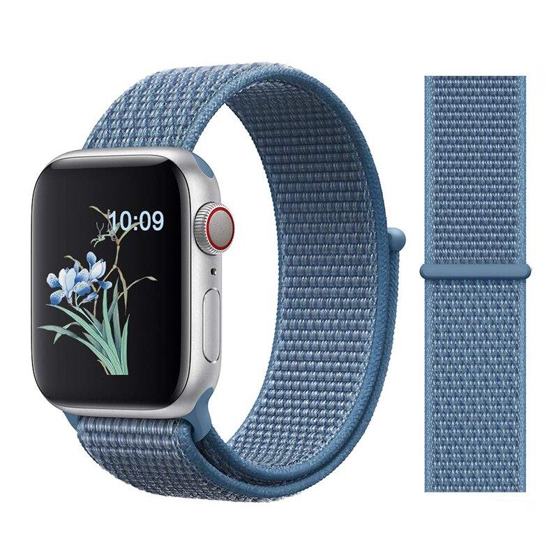 Для наручных часов Apple Watch, версии 3/2/1 38 мм 42 мм нейлон мягкий дышащий нейлон для наручных часов iWatch, сменный ремешок спортивный бесшовный series4/5 40 мм 44 мм - Цвет ремешка: 25Cape Cod Blue