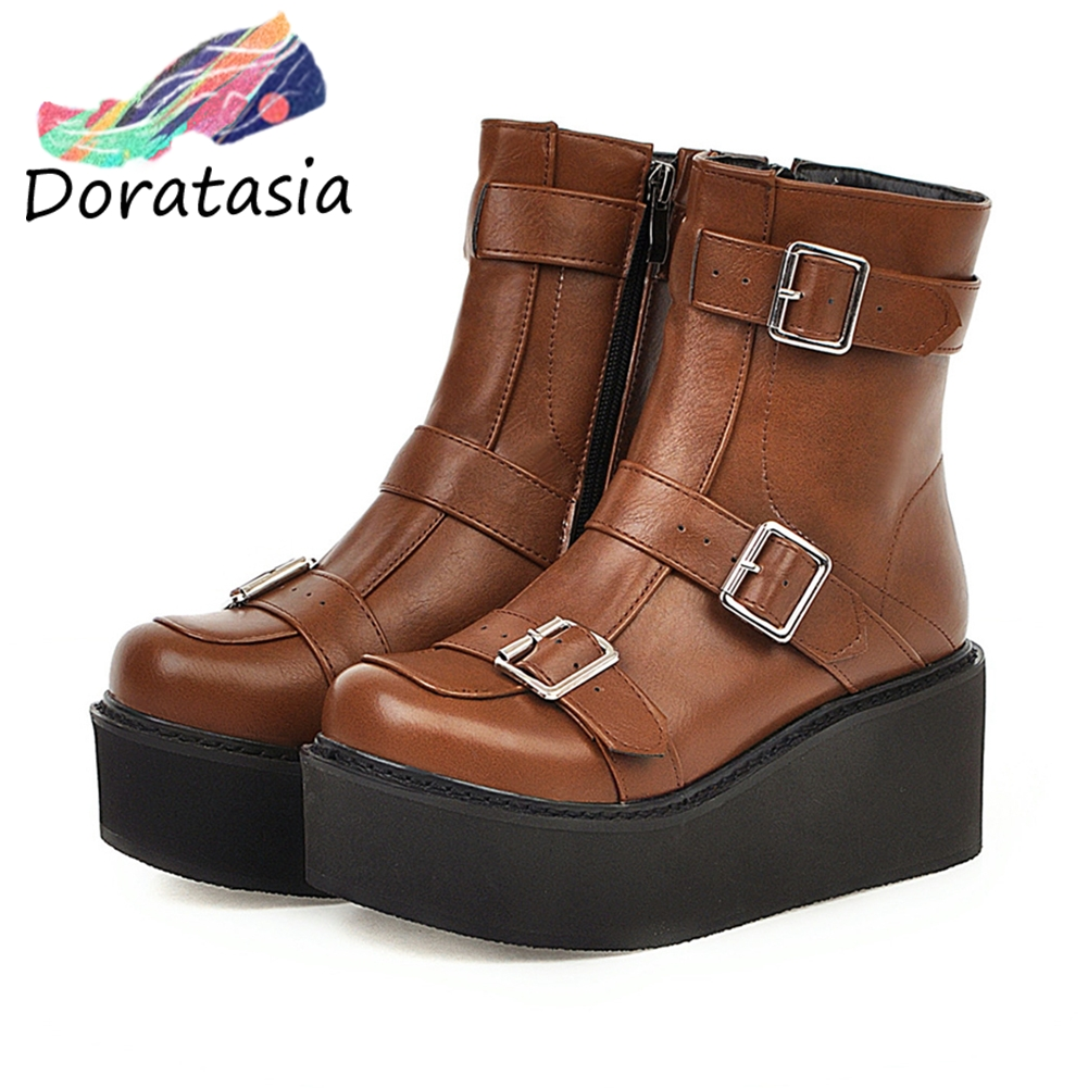 DARATASIA Autumn Plus Size 33-46 Girl Thick Platform Booties Ladies Fashion Wedges Ankle Boots Women 2019 High Shoes Woman