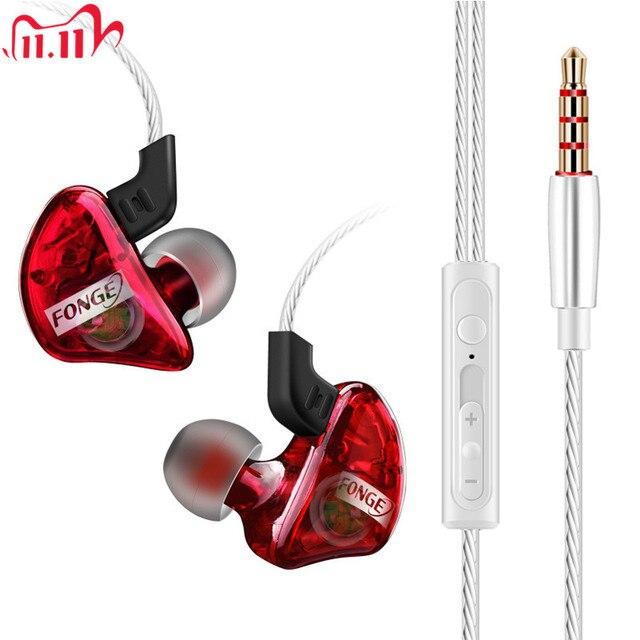 3.5 millimetri originale Fonge T01 Trasparente In Ear Auricolare Subwoofer Stereo Bass Auricolari del Trasduttore Auricolare Con Il Mic per il iPhone Xiaomi