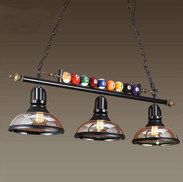 Nordic Billiard Table Pendant Lamp Vintage Iron Glass Shade Bedroom Dining Room Cafe Restaurant Pendant Lights Deco Hanging Lamp