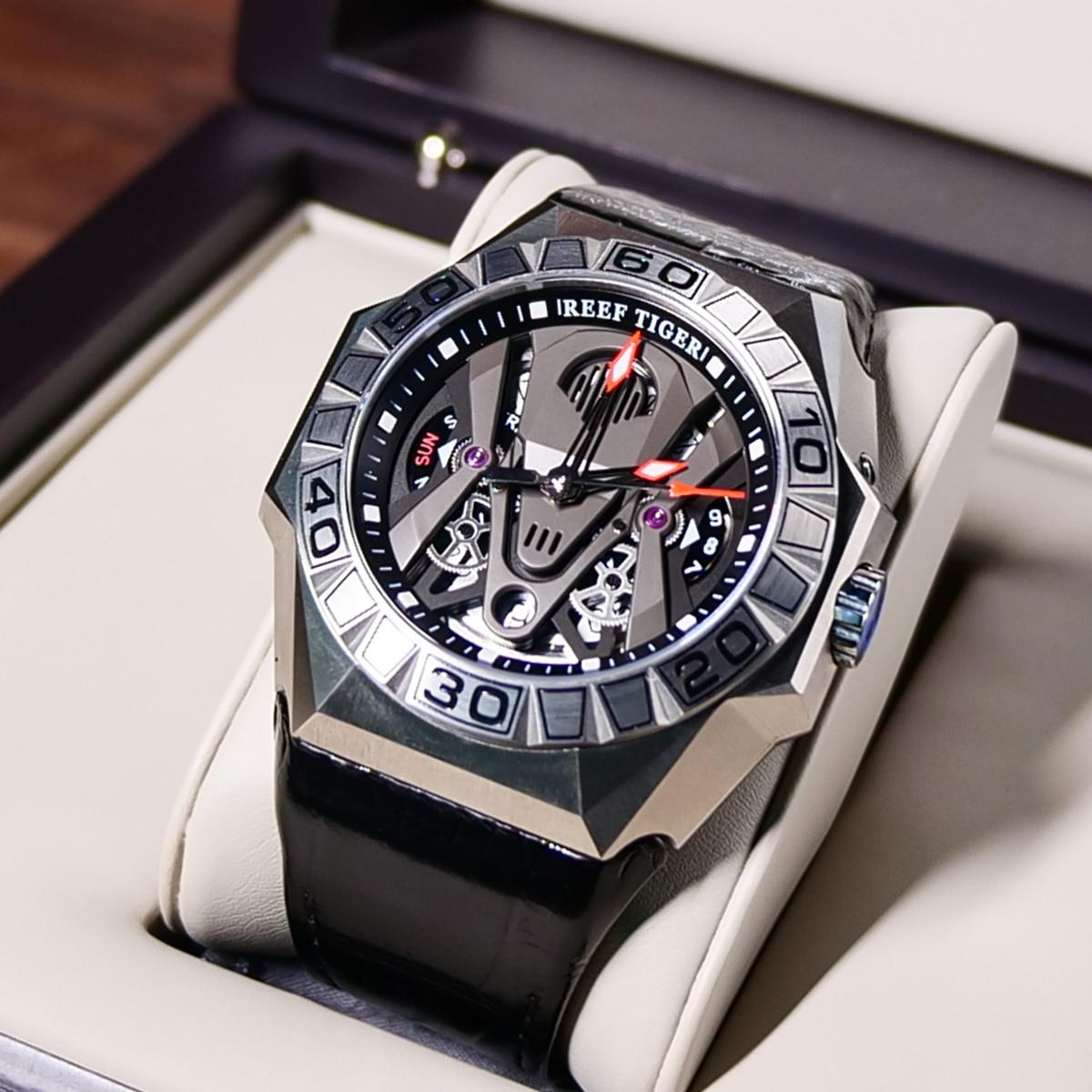 Reef Tiger/RT Top Brand Men Sport Watches Automatic Skeleton Watch Steel Waterproof Leather Strap Relogio Masculino RGA6912 3