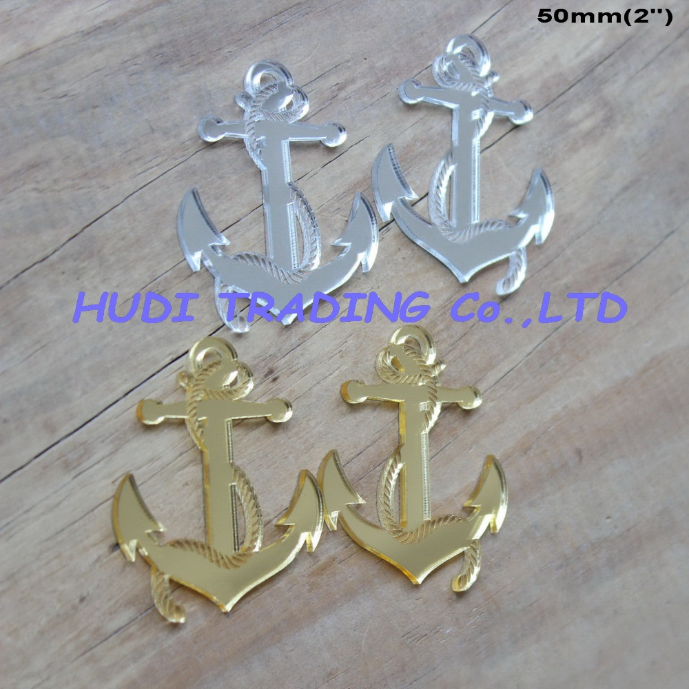 (8pcs/lot) 50mm Acrylic Anchor Earrings Ornaments Gold & Silver Mirror Laser Cutout 2.0