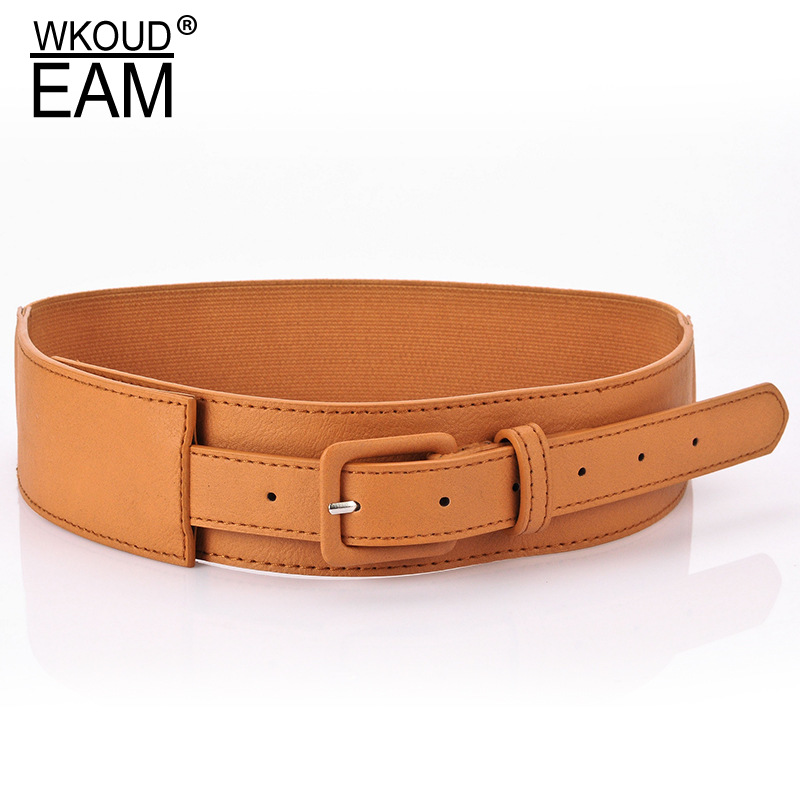 WKOUD EAM 2020 New Fashion Wide Belt For Women Solid Imitation Leather Elastic Metal Square Buckle Waistband Female Trendy ZJ954