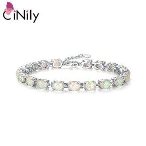 Image 1 - CiNily Blue & White Fire Opal Stone Chain Bracelets Silver Plated Oval Fine Link Bracelet Bohemia BOHO Summer Jewelry Woman Girl