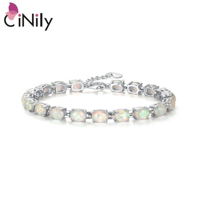CiNily Blue & White Fire Opal Stone Chain Bracelets Silver Plated Oval Fine Link Bracelet Bohemia BOHO Summer Jewelry Woman Girl