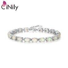 CiNily Bracelets en pierre opale feu bleu et blanc, Bracelet plaqué argent à maillons fins, ovale, BOHO, bijoux dété pour femmes et filles