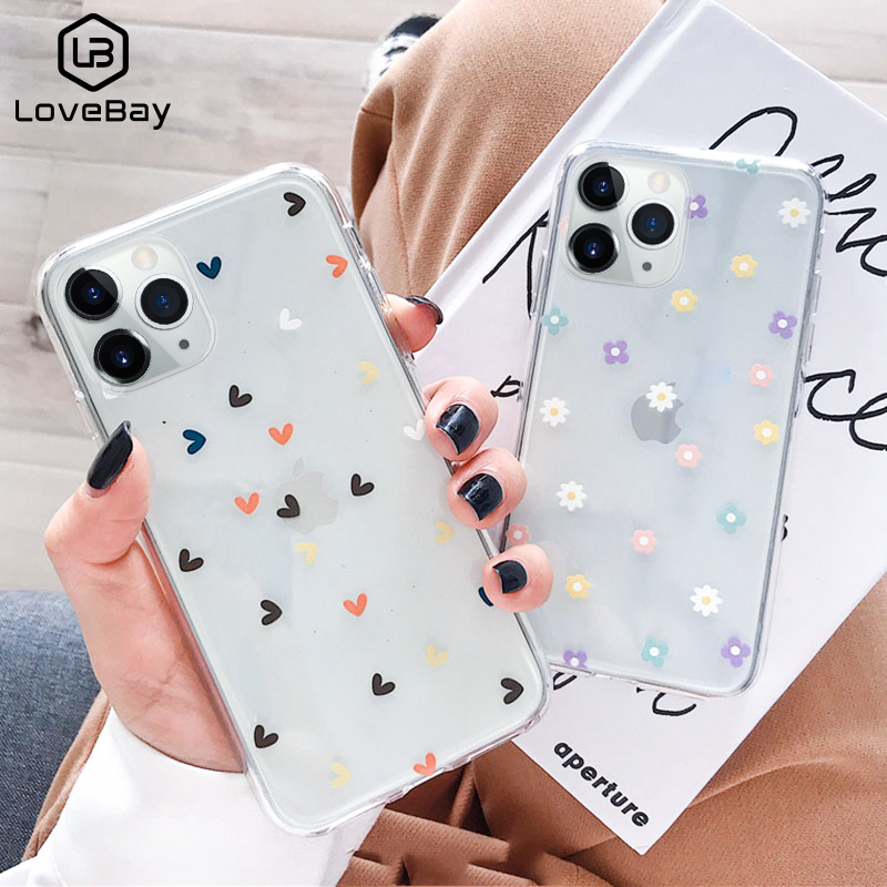 Lovebay Soft Clear Phone Cases For iphone 11 Pro X XS Max XR 6 6S 7 8 Plus Case Floral Love Heart Transparent Simple Back Cover